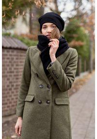 Marie Zélie - Płaszcz wełniany Debora ciemnozielony. Kolor: zielony. Materiał: wełna. Wzór: motyw zwierzęcy, ze splotem. Sezon: zima. Styl: klasyczny #6