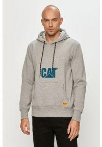 CATerpillar - Caterpillar - Bluza bawełniana. Okazja: na co dzień. Typ kołnierza: kaptur. Kolor: szary. Materiał: bawełna. Wzór: nadruk. Styl: casual