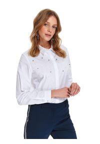 TOP SECRET - Koszula damska zdobiona perłami. Kolor: biały. Materiał: materiał, bawełna. Wzór: aplikacja. Sezon: wiosna. Styl: elegancki, klasyczny