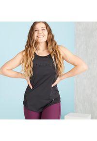 DOMYOS - Top długi fitness. Kolor: czarny. Materiał: poliester, elastan, materiał. Długość rękawa: na ramiączkach. Długość: długie. Sport: fitness