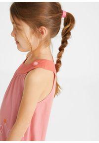 Sukienka dziewczęca z dżerseju bonprix mandarynkowo-jasny koralowy z nadrukiem. Kolor: czerwony. Materiał: jersey. Wzór: nadruk
