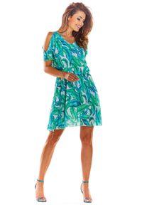 e-margeritka - Zwiewna sukienka mini na lato - 40. Materiał: tkanina, szyfon, materiał, poliester. Sezon: lato. Typ sukienki: rozkloszowane. Styl: wakacyjny. Długość: mini