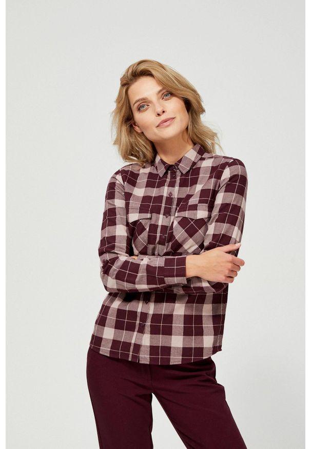 MOODO - Koszula w kratę. Materiał: bawełna. Długość rękawa: długi rękaw. Długość: długie. Wzór: kratka