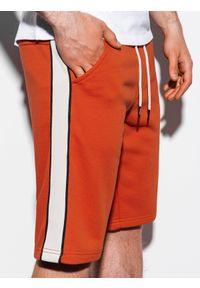 Ombre Clothing - Krótkie spodenki męskie dresowe W241 - ceglaste - XXL. Kolor: czerwony. Materiał: dresówka. Długość: krótkie
