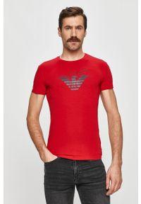 Czerwony t-shirt Emporio Armani casualowy, na co dzień, z nadrukiem
