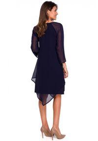 Style - Koktajlowa szyfonowa asymetryczna sukienka BOHO. Okazja: na wesele, na ślub cywilny, na imprezę, na randkę. Materiał: szyfon. Typ sukienki: asymetryczne. Styl: wizytowy, boho