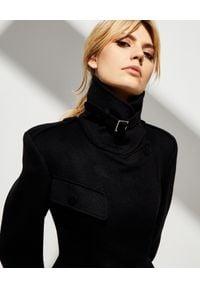 Alexander McQueen - ALEXANDER MCQUEEN - Czarny płaszcz z wełny. Kolor: czarny. Materiał: wełna. Sezon: zima #6