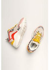 Pomarańczowe buty sportowe Steve Madden z cholewką, na sznurówki