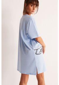 Undiz - Koszula nocna COOLDUMBIZ. Kolor: niebieski. Materiał: bawełna, dzianina. Długość: krótkie. Wzór: nadruk