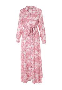 Born2be - Różowa Sukienka Taphithise. Kolor: różowy. Długość rękawa: długi rękaw. Wzór: aplikacja. Typ sukienki: koszulowe. Styl: elegancki. Długość: maxi