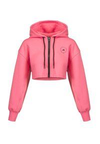 Adidas by Stella McCartney - Bluza ADIDAS BY STELLA McCARTNEY SC CR HOOD. Kolor: różowy. Materiał: skóra, materiał. Długość rękawa: długi rękaw. Długość: krótkie
