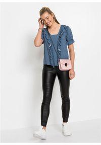 Bluzka bonprix niebieski dżins - szary w groszki. Kolor: niebieski. Wzór: grochy