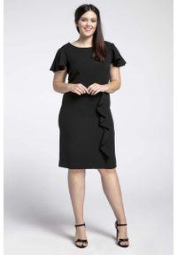 Czarna sukienka wizytowa Nommo dla puszystych, elegancka, plus size