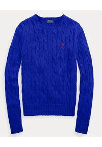Ralph Lauren - RALPH LAUREN - Niebieski sweter. Okazja: na co dzień. Typ kołnierza: polo. Kolor: niebieski. Materiał: bawełna. Długość: długie. Sezon: wiosna. Styl: casual, elegancki