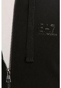 Czarna bluza rozpinana EA7 Emporio Armani na co dzień, casualowa, z kapturem