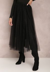Renee - Czarna Spódnica Cylophine. Kolor: czarny. Materiał: dzianina. Wzór: aplikacja. Styl: glamour, elegancki