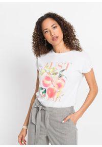 T-shirt z nadrukiem bonprix biel wełny z nadrukiem. Kolor: biały. Materiał: wełna. Wzór: nadruk. Sezon: lato. Styl: klasyczny