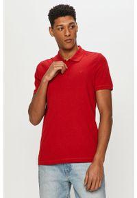 Czerwona koszulka polo Mustang na co dzień, krótka