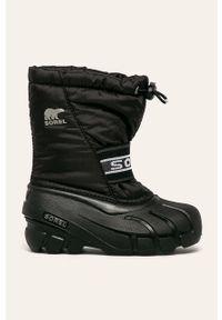 Czarne buty zimowe sorel z okrągłym noskiem, z cholewką, na zimę