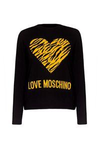 Czarny sweter Love Moschino z okrągłym kołnierzem, z nadrukiem