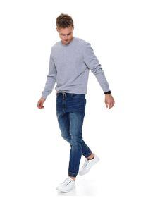 TOP SECRET - Bluza gładka. Okazja: na spacer. Kolor: szary. Materiał: jeans, materiał. Długość rękawa: długi rękaw. Długość: długie. Wzór: gładki. Sezon: wiosna. Styl: klasyczny
