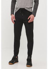 4f - 4F - Spodnie. Okazja: na co dzień. Kolor: czarny. Materiał: dzianina. Styl: casual