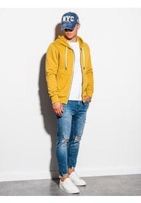 Ombre Clothing - Bluza męska rozpinana z kapturem B977 - żółta - XXL. Typ kołnierza: kaptur. Kolor: żółty. Materiał: poliester, bawełna. Styl: klasyczny