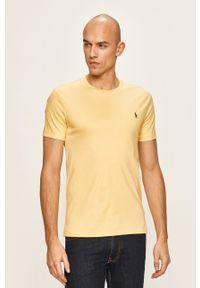 Polo Ralph Lauren - T-shirt. Okazja: na co dzień. Typ kołnierza: polo. Kolor: żółty. Materiał: dzianina. Styl: casual