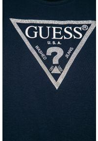 Niebieska bluzka z krótkim rękawem Guess Jeans na co dzień, z nadrukiem, casualowa