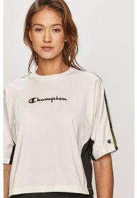 Biała bluzka Champion casualowa, z nadrukiem, na co dzień
