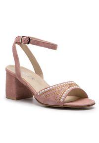 Różowe sandały Ann Mex casualowe, na co dzień, z aplikacjami