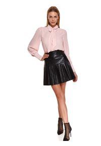 TOP SECRET - Mini spódnica ze skóry ekologicznej z efektownym plisowaniem. Okazja: do pracy, na imprezę. Kolor: czarny. Materiał: skóra ekologiczna. Sezon: wiosna. Styl: elegancki