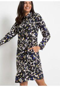 Sukienka koszulowa z nadrukiem bonprix czarny z nadrukiem. Kolor: czarny. Wzór: nadruk. Typ sukienki: koszulowe