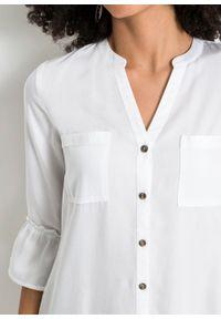 Sukienka koszulowa z falbanami, z tencelu bonprix biały. Kolor: biały. Typ sukienki: koszulowe
