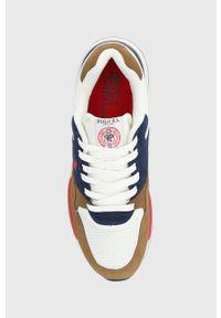 Brązowe sneakersy Polo Ralph Lauren na sznurówki, z cholewką