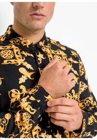 Czarna koszula bonprix z nadrukiem, z długim rękawem