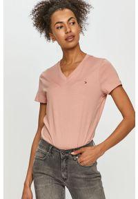 Różowa bluzka TOMMY HILFIGER casualowa, gładkie, na co dzień