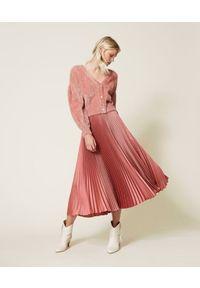TwinSet - Plisowana długa spódnica Twinset. Kolor: różowy. Materiał: satyna, poliester. Długość: długie