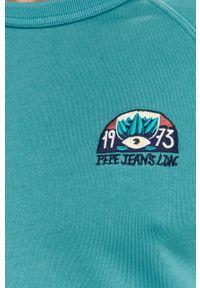 Pepe Jeans - Bluza bawełniana Jairo. Kolor: turkusowy. Materiał: bawełna. Długość rękawa: raglanowy rękaw. Wzór: aplikacja