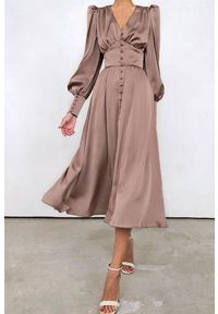 Beżowa długa sukienka IVET na co dzień, elegancka