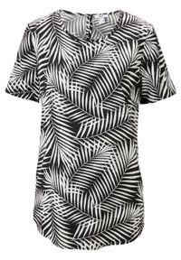 Bluzka shirtowa z wiskozy z nadrukiem bonprix czarny z nadrukiem. Kolor: czarny. Materiał: wiskoza. Wzór: nadruk
