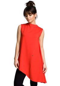 MOE - Czerwona Dzianinowa Asymetryczna Bluzka bez Rękawów. Kolor: czerwony. Materiał: dzianina. Długość rękawa: bez rękawów