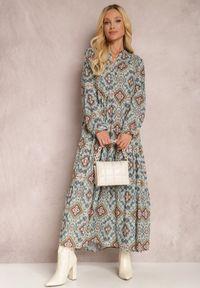 Renee - Niebieska Sukienka Camassia. Okazja: na co dzień. Kolor: niebieski. Materiał: bawełna. Długość rękawa: długi rękaw. Wzór: aplikacja. Styl: casual. Długość: maxi