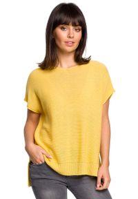 Żółty sweter asymetryczny MOE krótki, z asymetrycznym kołnierzem