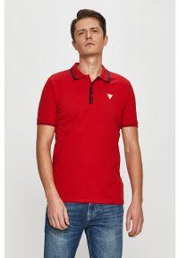 Czerwona koszulka polo Guess polo, z aplikacjami, krótka
