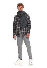 TOP SECRET - Pikowana koszulowa kurtka męska w kratę. Kolor: szary. Materiał: bawełna, tkanina. Długość rękawa: długi rękaw. Długość: długie. Wzór: kratka. Sezon: jesień