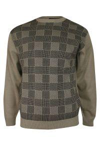 Sweter Kings z okrągłym kołnierzem, w kratkę, klasyczny, na zimę