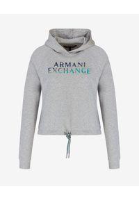 Armani Exchange - ARMANI EXCHANGE - Bawełniana bluza z kapturem. Typ kołnierza: kaptur. Kolor: szary. Materiał: bawełna. Styl: młodzieżowy