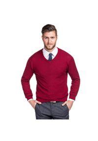 Czerwony sweter Giacomo Conti w kolorowe wzory, z dekoltem w kształcie v, na zimę