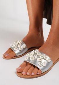 Renee - Srebrne Klapki Kioto. Okazja: na plażę. Nosek buta: otwarty. Kolor: srebrny. Wzór: aplikacja. Obcas: na obcasie. Styl: wakacyjny. Wysokość obcasa: niski